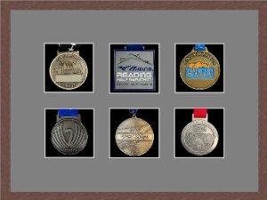 Marathon Medal Frame – S12-99F Dark Woodgrain-Grey Mount