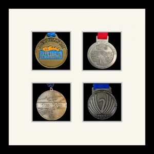 Marathon Medal Frame – S14-77i Black-Antique White Mount