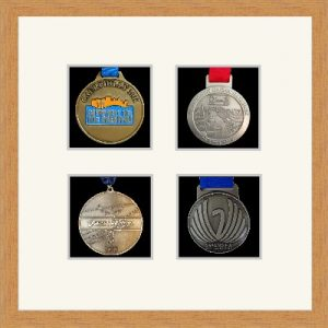 Marathon Medal Frame – S14-98F Light Woodgrain-Antique White Mount