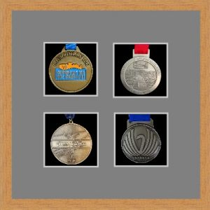 Marathon Medal Frame – S14-98F Light Woodgrain-Grey Mount