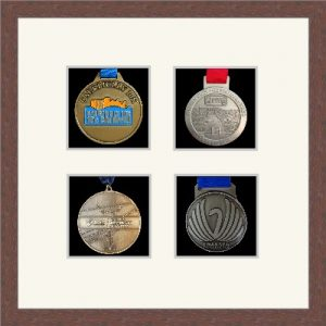 Marathon Medal Frame – S14-99F Dark Woodgrain-Antique White Mount