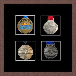 Marathon Medal Frame – S14-99F Dark Woodgrain-Black Mount