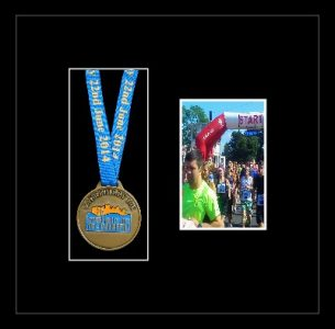 Black woodgrain picture frame for one marathon medal/photo with black mount