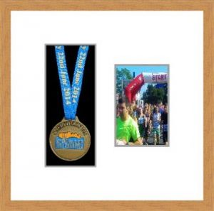 Marathon Medal Frame – S2PH-98F Light Woodgrain-Antique White Mount