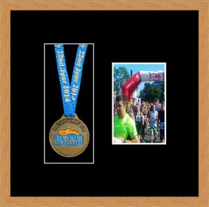 Light woodgrain picture frame for one marathon medal/photo with black mount