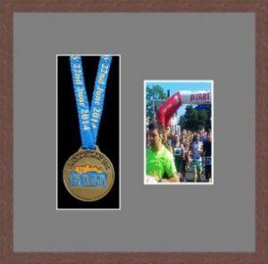 Marathon Medal Frame – S2PH-99F Dark Woodgrain-Grey Mount