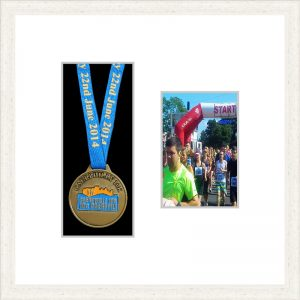 Marathon Medal Frame – S2PH-193H White Woodgrain-Antique White Mount