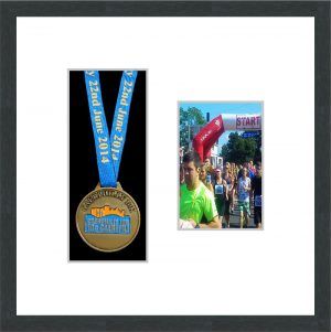 Marathon Medal Frame – S2PH-194H Dark Grey Woodgrain-Antique White Mount