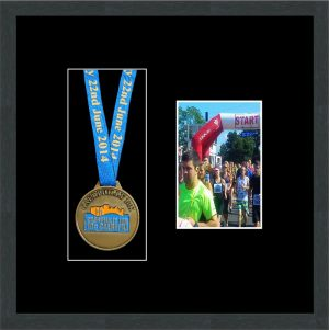 Marathon Medal Frame – S2PH-194H Dark Grey Woodgrain-Black Mount