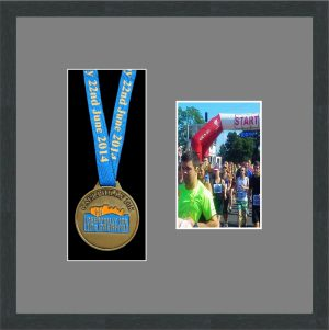 Marathon Medal Frame – S2PH-194H Dark Grey Woodgrain-Grey Mount