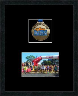 Marathon Medal Frame – S3-192H Black Woodgrain-Black Mount