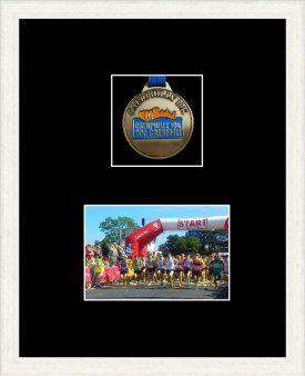 Marathon Medal Frame – S3-193H White Woodgrain-Black Mount