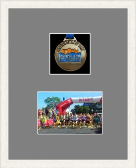 White woodgrain picture frame for one marathon medal/photo with grey mount