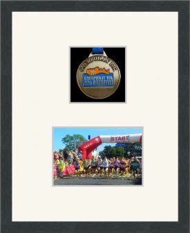 Dark grey woodgrain picture frame for one marathon medal/photo with antique white mount
