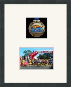 Marathon Medal Frame – S3-194H Dark Grey Woodgrain-Antique White Mount