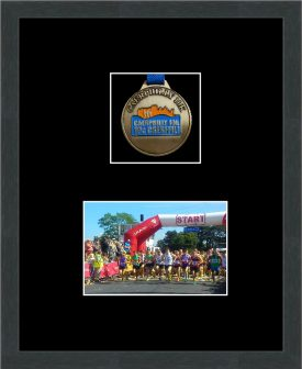 Marathon Medal Frame – S3-194H Dark Grey Woodgrain-Black Mount