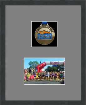 Marathon Medal Frame – S3-194H Dark Grey Woodgrain-Grey Mount