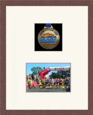 Dark woodgrain picture frame for one marathon medal/photo with antique white mount