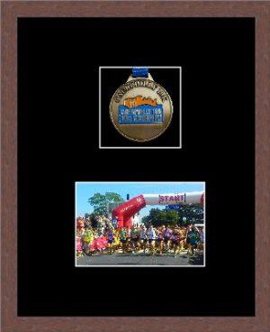 Marathon Medal Frame – S3-99F Dark Woodgrain-Black Mount