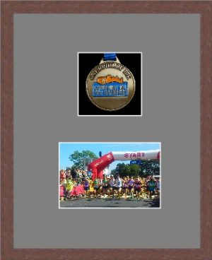 Dark woodgrain picture frame for one marathon medal/photo with grey mount