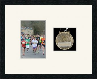 Marathon Medal Frame – S4-192H Black Woodgrain-Antique White Mount