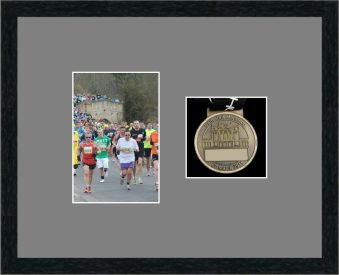 Black woodgrain picture frame for one marathon medal/photo with grey mount