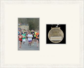 Marathon Medal Frame – S4-193H White Woodgrain-Antique White Mount