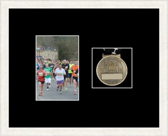 White woodgrain picture frame for one marathon medal/photo with black mount