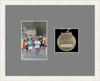 Marathon Medal Frame – S4-193H White Woodgrain-Grey Mount