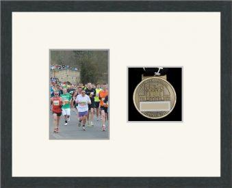 Marathon Medal Frame – S4-194H Dark Grey Woodgrain-Antique White Mount