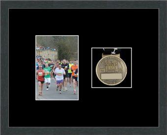 Marathon Medal Frame – S4-194H Dark Grey Woodgrain-Black Mount