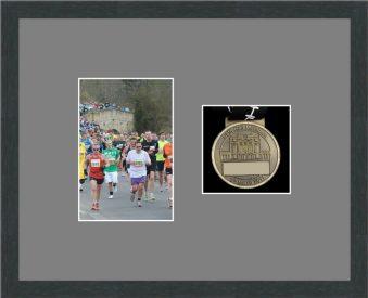 Marathon Medal Frame – S4-194H Dark Grey Woodgrain-Grey Mount