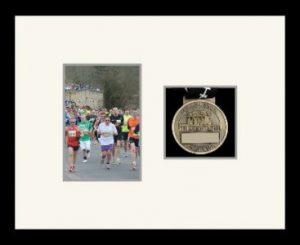 Marathon Medal Frame – S4-77i Black-Antique White Mount