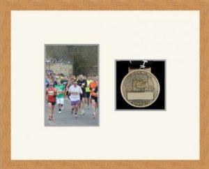Marathon Medal Frame – S4-98F Light Woodgrain-Antique White Mount
