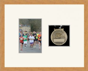 Light woodgrain picture frame for one marathon medal/photo with antique white mount