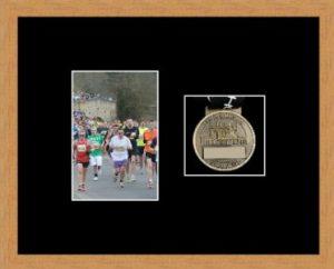 Marathon Medal Frame – S4-98F Light Woodgrain-Black Mount
