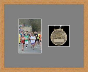 Marathon Medal Frame – S4-98F Light Woodgrain-Grey Mount