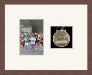 Marathon Medal Frame – S4-99F Dark Woodgrain-Antique White Mount