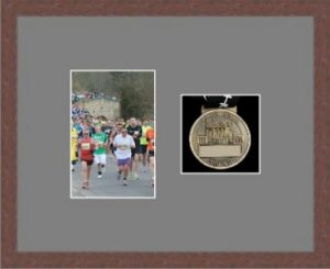 Marathon Medal Frame – S4-99F Dark Woodgrain-Grey Mount