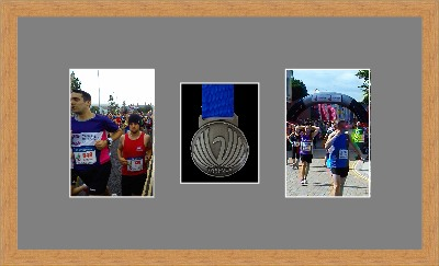 Marathon Medal Frame – S8-98F Light Woodgrain-Grey Mount