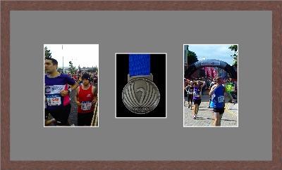 Marathon Medal Frame – S8-99F Dark Woodgrain-Grey Mount