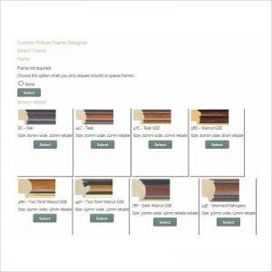 Picure frame designer select frame