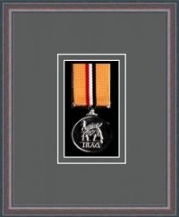 Oak picture frame for one military medal with grey mount